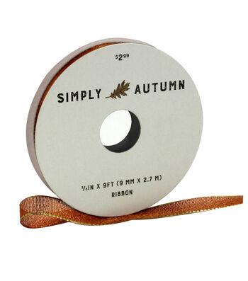 Simply Autumn Lame Ribbon 3/8''x9'-Copper