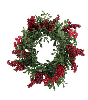Blooming Holiday Christmas 17'' Red Berry & Glistening Greenery Wreath
