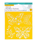 Darice 6\u0027\u0027x6\u0027\u0027 Reusable Self-Adhesive Stencil-Butterflies