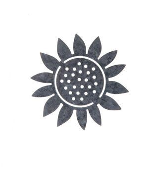 Simply Autumn Craft 3.7''x3.7'' Galvanized Sunflower Icon