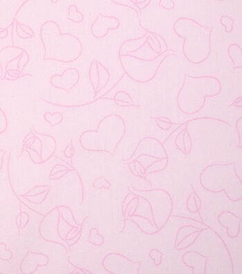 "Valentine's Day Cotton Fabric 43""-Heart Rose Outlines"