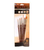 Loew-Cornell Studio Elements 6 pk Golden Taklon Paintbrushes, , hi-res