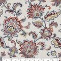 Luxe Fleece Fabric-Cream Rust Large Floral