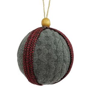 Handmade Holiday Christmas Alpine Lodge Knitted Ornament-Gray