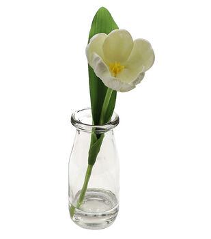 Fresh Picked Spring 9'' Tulip in Glass Bottle-White