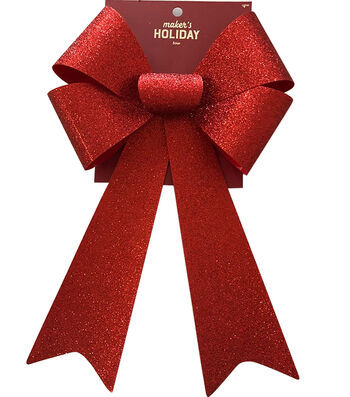 Maker's Holiday Christmas Bow-Red Glitter