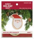 Wood Cross Stitch Ornament Kit-Santa