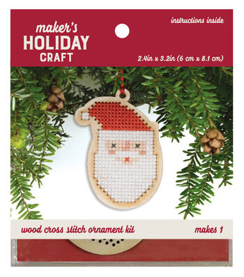 Wood Cross Stitch Ornament Kit-Santa