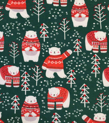 "Doodles Christmas Cotton Fabric 57""-Dark Green Sweater Bears"