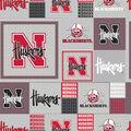 University of Nebraska Cornhuskers Fleece Fabric -Gray Block