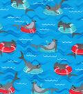 Novelty Cotton Fabric 43\u0022-Innertube Sharks
