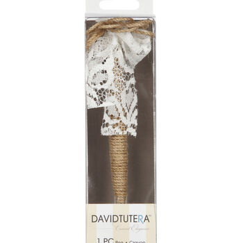 Jute Covered Pen W Lace Accent