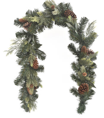 Blooming Holiday Christmas 4''x66'' Mixed Greenery & Pinecone Garland