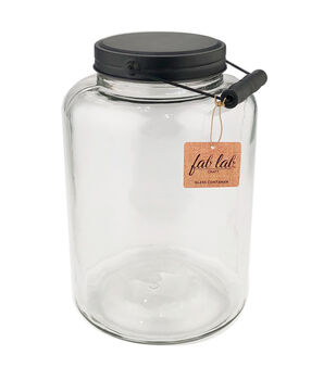 Fab Lab Craft 12'' Glass Container with Black Lid