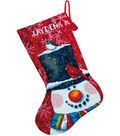 Snowman&Friends Stocking Needlepoint Kit-16\u0022 Long In Wool&Floss