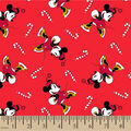 Disney Minnie Mouse Knit Fabric-Candy Canes