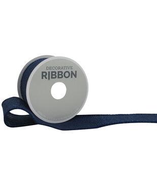 "Decorative Ribbon 1.5"" Solid Burlap Ribbon-Navy"