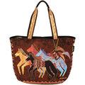Laurel Burch Shoulder Tote Zipper Top 23.5\u0022x5.5\u0022x15.25\u0022-Native Horses