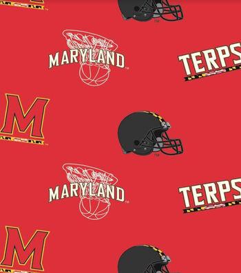 "University of Maryland Terrapins Fleece Fabric 58""-Allover"