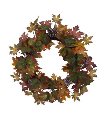 Blooming Autumn Maple Leaves & Pinecone Wreath