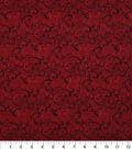 Harvest Cotton Fabric-Linen Look Scrolls on Burgundy