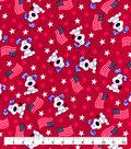 Patriotic Snuggle Flannel Fabric-Flags & Pups