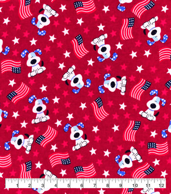 Snuggle Flannel Fabric-Flag Pups