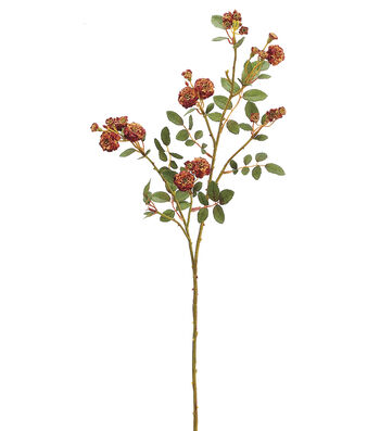 "Bloom Room 30"" Pompon Rose Spray-Orange Rust"