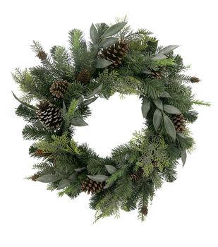 Handmade Holiday Christmas Greenery & Pinecone Mixed Wreath