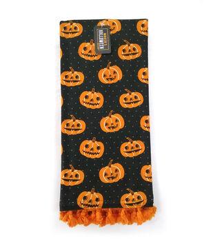 Maker's Halloween Decor Towel with Trim-Jack-o'-lanterns on Black