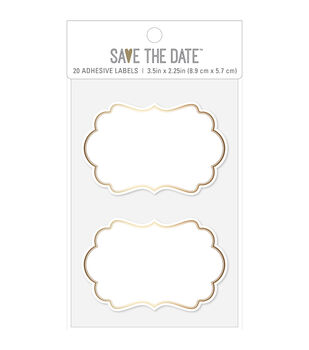 Save the Date 3.5''x2.25'' Gold Foiled Rectangle Bubble Adhesive Labels