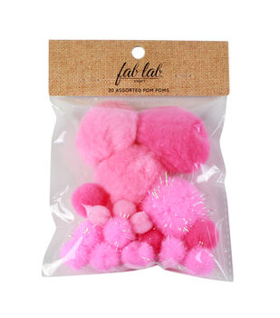 Fab Lab Craft 20 pk Assorted Tinsel Pom Poms-Pink