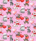Holiday Inspirations Valentine\u0027s Day Glitter Fabric -Love Pup