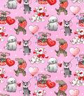 Holiday Inspirations Valentine\u0027s Day Glitter Fabric -Love Pup