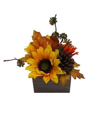 Blooming Autumn Mum, Sunflower & Pinecone Arrangement