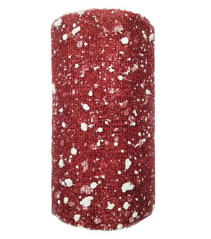 Handmade Holiday Christmas Mesh Ribbon 5''x15'-Snow on Red