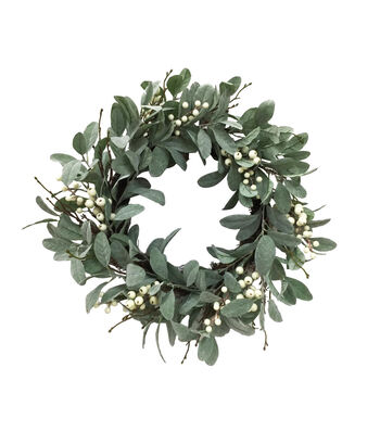 Blooming Holiday Christmas 24'' Berry & Dusty Miller Wreath-White