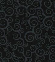 Keepsake Calico Cotton Fabric -Scroll on Black, , hi-res