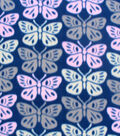 Blizzard Fleece Fabric-Stamped Butterfly Toss