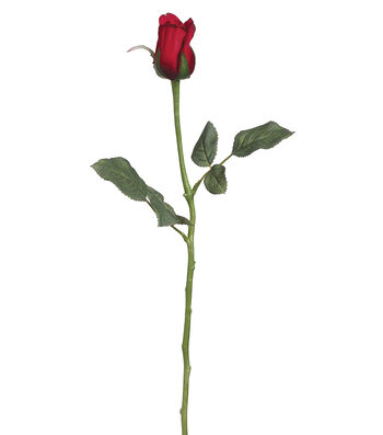 "Bloom Room 22.5"" Single Princess Mary Rose Bud Stem with Waterproof Stem-Red"