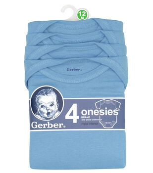 Gerber 4pk Blue Onesies 12M