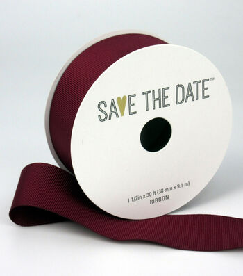 """Save the Date 1.5"""" x 30ft Ribbon-Cranberry Grosgrain"""