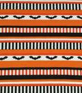 Doodles Halloween Interlock Cotton Fabric 57\u0022-Halloween Bat Stripes
