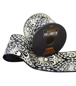 Maker's Halloween Decor Ribbon 2.5''x12'-Paisley Skulls