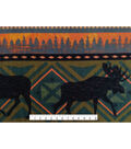 Anti-Pill Fleece Fabric -Moose on Warm Aztec Stripe