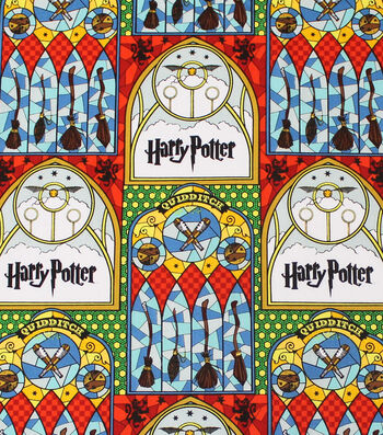 Harry Potter Cotton Fabric -Stained Glass Quidditch