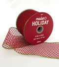 Maker\u0027s Holiday Glitter Mesh Ribbon 2.5\u0027\u0027x25\u0027-Red with Green Edge