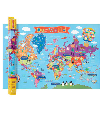 "Kid's Map, World, 24"" x 36"", Pack of 2"