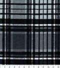 Snuggle Flannel Fabric-Gray & Black Distressed Plaid