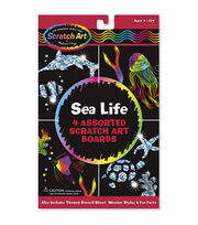 "Melissa & Doug Scratch Art Board Set 6""X10"" 4/Pkg-Sea Life, , hi-res"